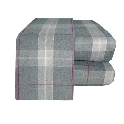 Flannel Sheet Set Color: Gray/Red, Size: Queen