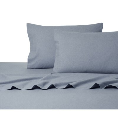 Heather Flannel Sheet Set Size: King, Color: Blue
