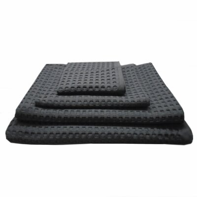Waffle Hotel 4 Piece Towel Set Color: Charcoal Gray