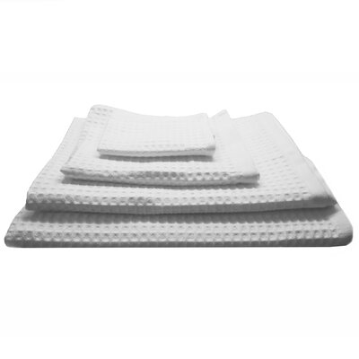 Waffle Hotel 4 Piece Towel Set Color: White