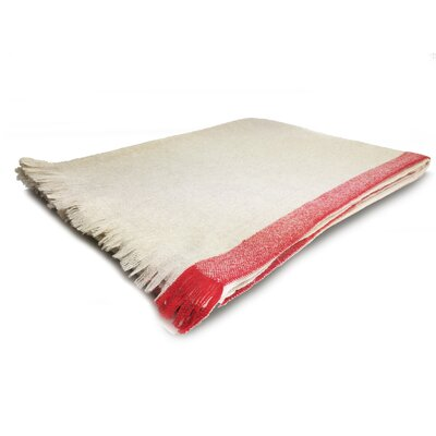 Cashmere Border Throw Color: Beige with Red