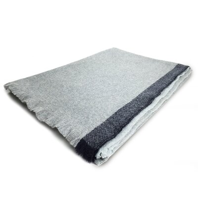 Cashmere Border Throw Color: Gray with Navy