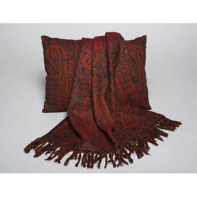 Jamavaar Paisley Wool Throw Pillow