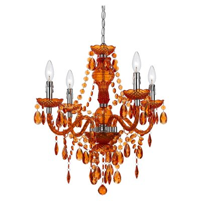 Geoffroy 4-Light Chandelier Finish: Orange