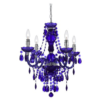 Geoffroy 4-Light Chandelier Finish: Purple