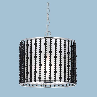 Bijou 1-Light Drum Pendant Crystal Color: Black