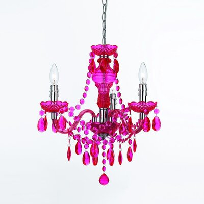 Creeves 3-Light Mini Chandelier Color: Hot Pink