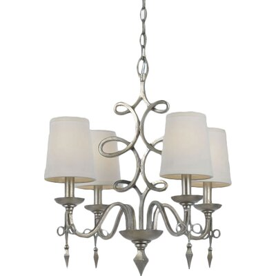 Forged Iron 4-Light Shaded Chandelier