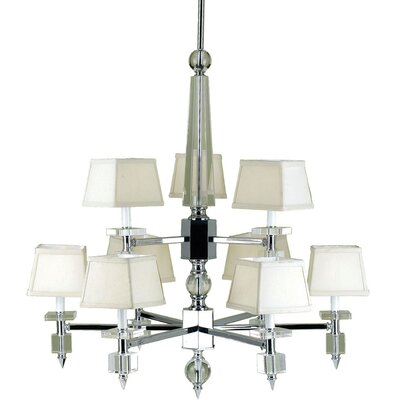 Cluny 9-Light Shaded Chandelier Shade Color: Cream