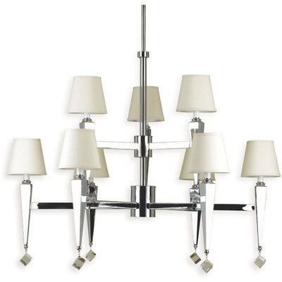 Margo 9-Light Shaded Chandelier Shade Color: Cream