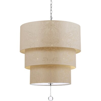 Over the Top 5-Light Drum Pendant Shade Color: Cream