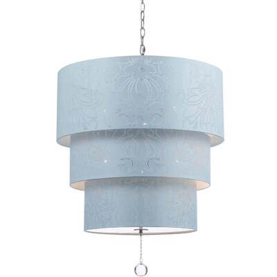 Over the Top 5-Light Drum Pendant Shade Color: Blue