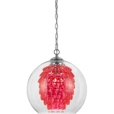 Glitzy 1-Light Crystal Pendant Color: Hot Pink