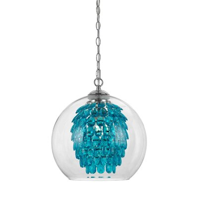 Glitzy 1-Light Crystal Pendant Color: Turquoise