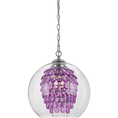 Glitzy 1-Light Crystal Pendant Color: Purple