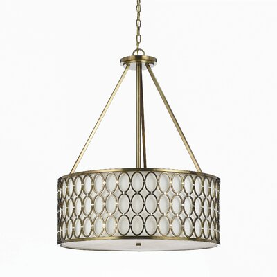 Cosmo 5-Light Drum Pendant Finish: Satin Brass