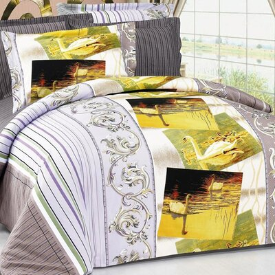 Swan 6 Piece Reversible Duvet Cover Set