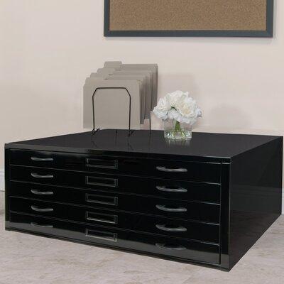 Flat File Filing Cabinet Size: 15.5 H x 40.75 W x 28.5 D, Color: Black
