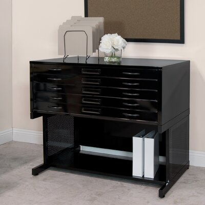 Flat File Stand Size: 19.75 H x 46.75 W x 35.5 D, Color: Black