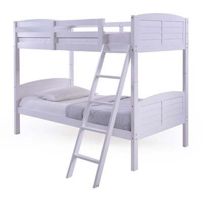 Panama Beach Twin over Twin Slat Bunk Bed Color: White