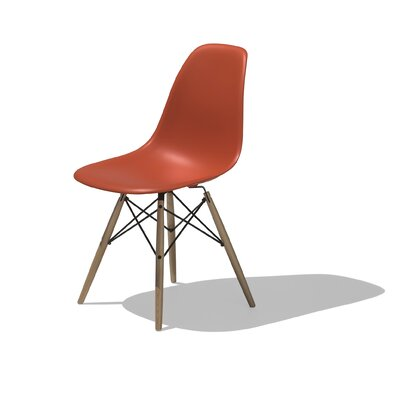 Low Price Herman Miller Eames DSW – Molded Plastic Side Chair with Dowel-Leg Base Color: Red, Dowel Finish: Walnut with White Glides
