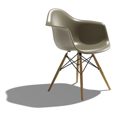 Low Price Herman Miller Eames DAW – Molded Plastic Armchair with Dowel-Leg Base Color: Black, Dowel Finish: Maple with White Glides