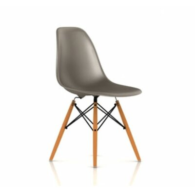 eames dsw molded plastic side chair with dowel leg base color white