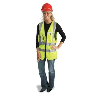 "Radnor Yellow Polyester Surveyors Vest w/ Zipper Closure, 2"" 3M? Scotchlite? Reflective Stripes, 9 Outside Pockets & 3 Inside Pockets at Sears.com"