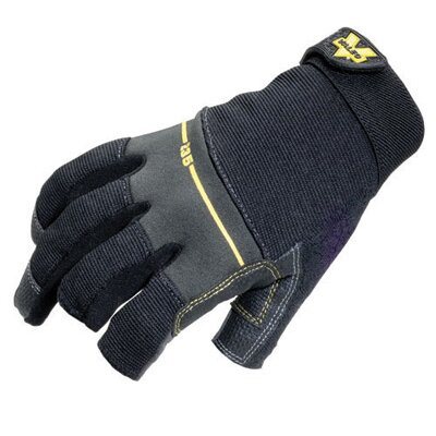 Valeo Inc Black Work Pro Open Finger Mechaics Gloves w/ Leather Palm, Sweat Wipe On Thumb, Stretch Back, Padded Knuckles & Hook & Loop Cuf at Sears.com
