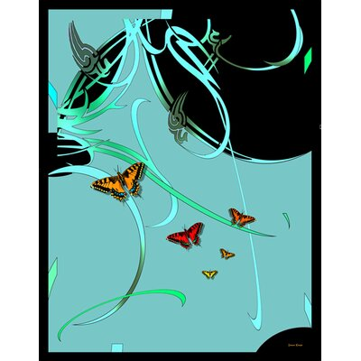 Butterflies and Beauty Throw Color: Green and Aqua