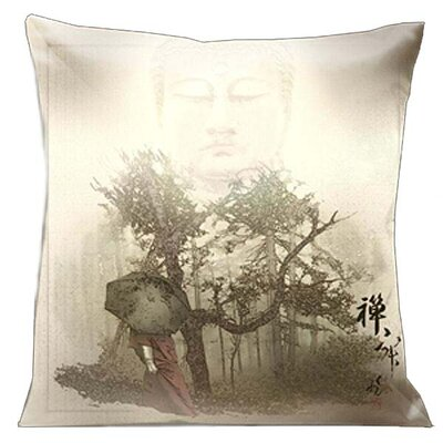 Zen Buddha Walking in the Forest Throw Pillow