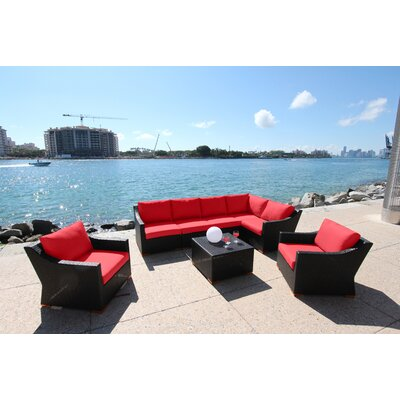 Marcelo 8 Piece Deep Seating Group with Cushion Fabric: Dura-Fast Red