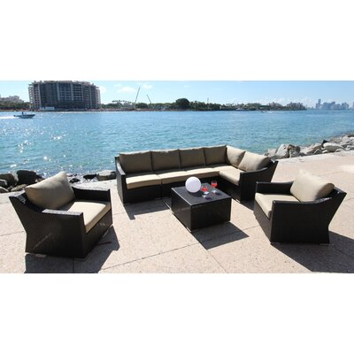 Marcelo 8 Piece Deep Seating Group with Cushion Fabric: Dura-Fast Meridian Metals