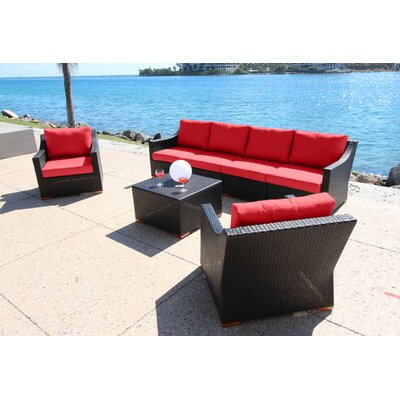Marcelo 7 Piece Deep Group with Cushion Fabric: Dura-Fast Red