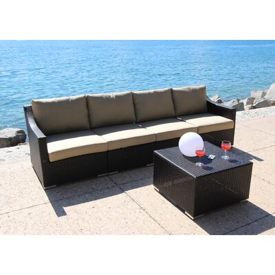 Marcelo 5 Piece Deep Seating Group with Cushion Fabric: Dura-Fast Meridian Metals