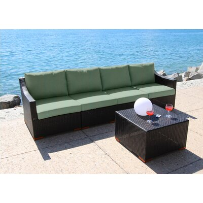 Marcelo 5 Piece Deep Seating Group with Cushion Fabric: Dura-Fast Fragship Blue