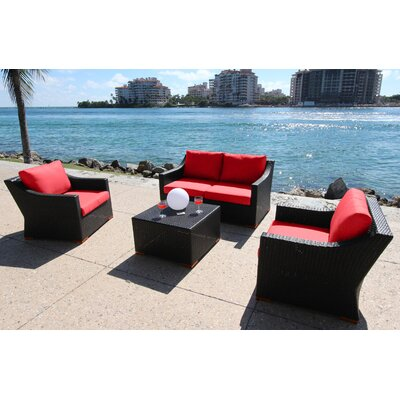 Marcelo 5 Piece Deep Seating Group with Cushion Fabric: Dura-Fast Red