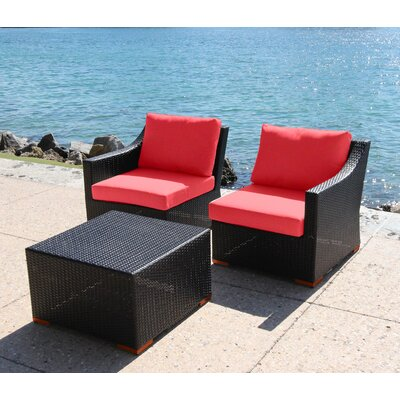 Marcelo 3 Piece Deep Seating Group with Cushion Fabric: Dura-Fast Red