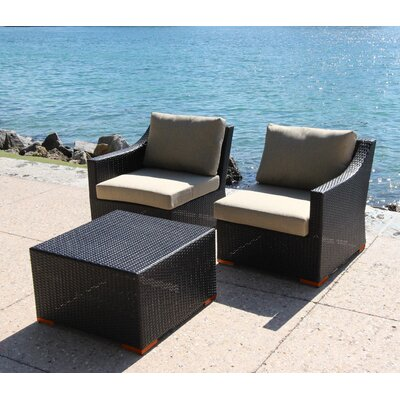 Marcelo 3 Piece Deep Seating Group with Cushion Fabric: Dura-Fast Meridian Metals