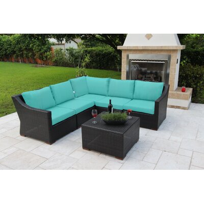 Marcelo 6 Piece Sectional Seating Group with Cushions Fabric: Blue - Canvas Aruba