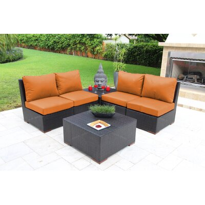 Scholtz 6 Piece Deep Seating Group with Cushions Fabric: Orange - Canvas Tuscan