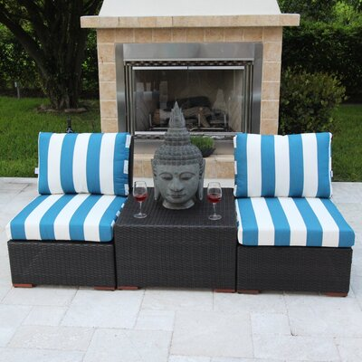 Marcelo 3 Piece Deep Seating Group with Cushions Fabric: Blue and White - Cabana Regatta