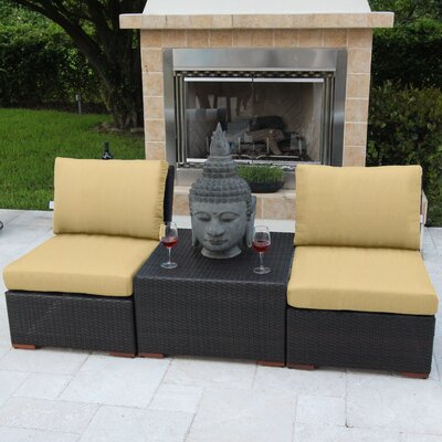 Marcelo 3 Piece Deep Seating Group with Cushions Fabric: Red - Canvas Jockey Red
