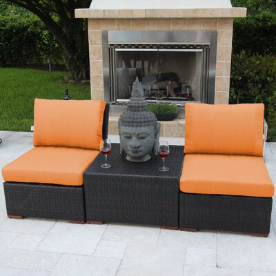 Marcelo 3 Piece Deep Seating Group with Cushions Fabric: Orange - Canvas Tuscan