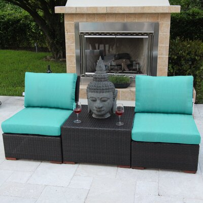 Marcelo 3 Piece Deep Seating Group with Cushions Fabric: Blue - Blue - Canvas Aruba