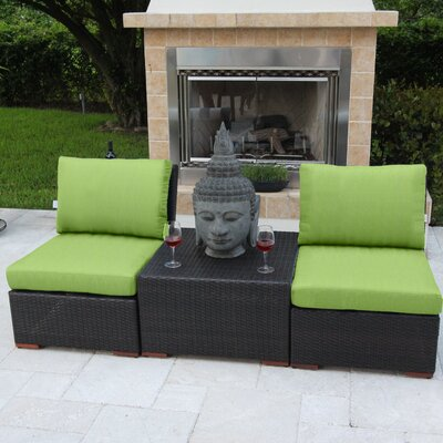 Marcelo 3 Piece Deep Seating Group with Cushions Fabric: Green - Canvas Ginkgo