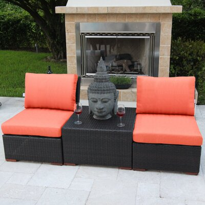 Marcelo 3 Piece Deep Seating Group with Cushions Fabric: Orange - Canvas Melon