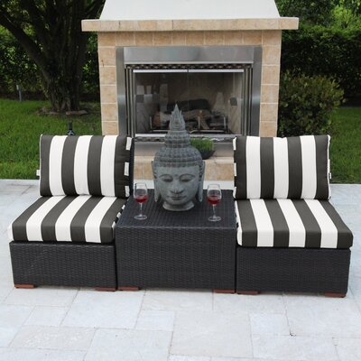 Marcelo 3 Piece Deep Seating Group with Cushions Fabric: Black and White - Cabana Classic
