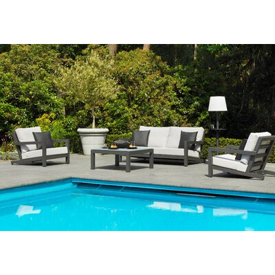Block 4 Piece Deep Seating Group with Cushions Frame Finish: Lava