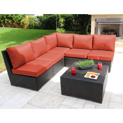 Scholtz 6 Piece Sectional Seating Group with Cushions Fabric: Orange - Canvas Melon